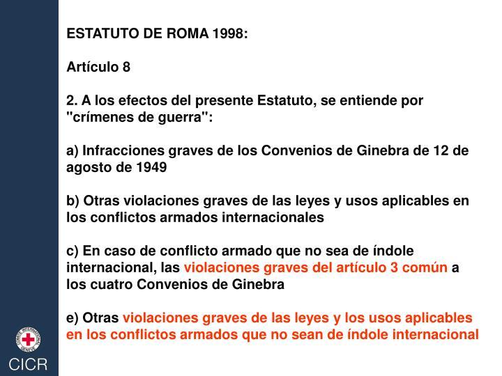 ESTATUTO DE ROMA 1998: