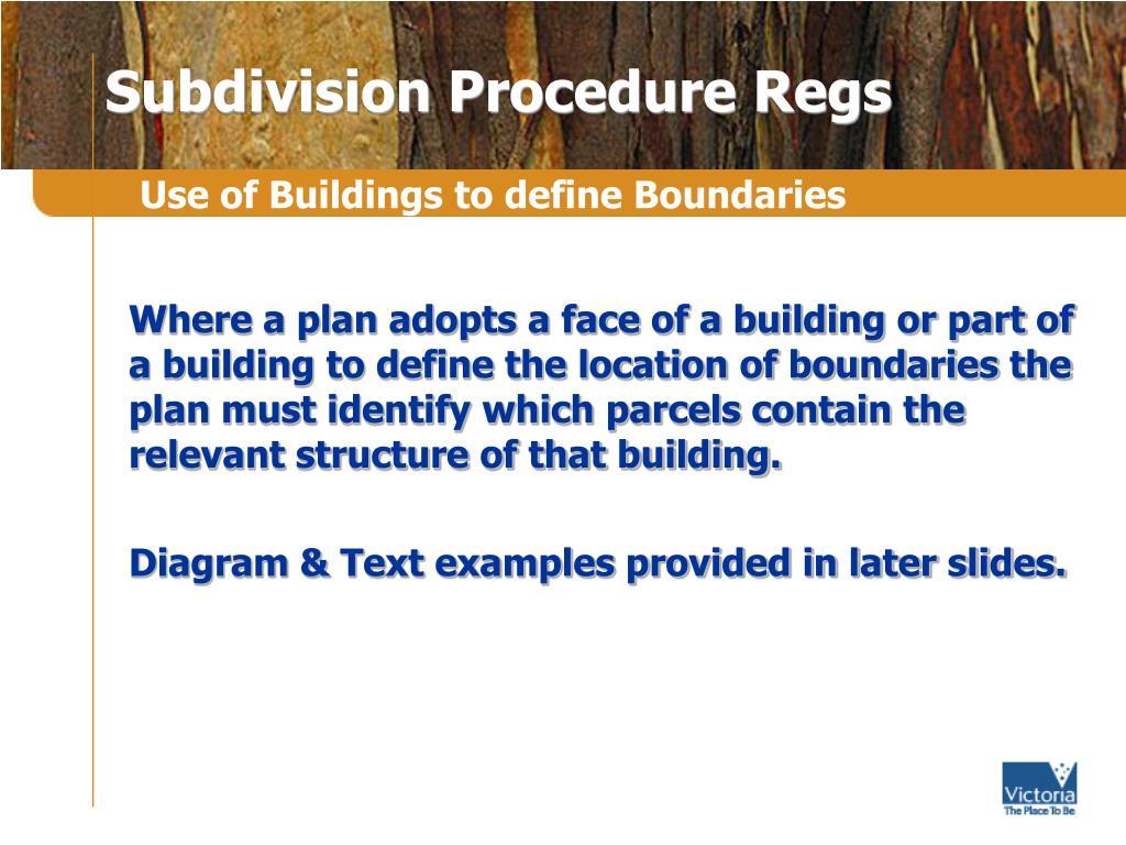 Subdivision Procedure Regs