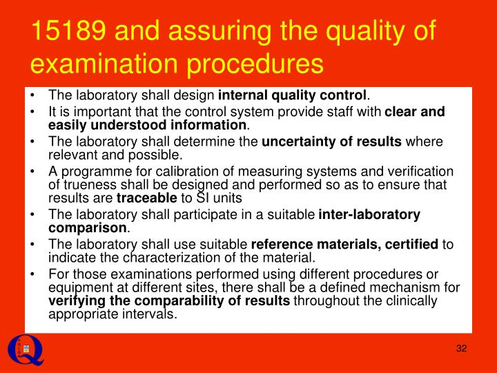 15189 and assuring the quality of examination procedures