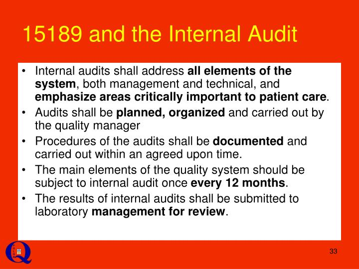 15189 and the Internal Audit