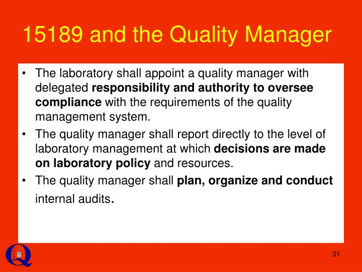 15189 and the Quality Manager