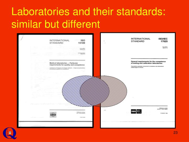 Laboratories and their standards: similar but different
