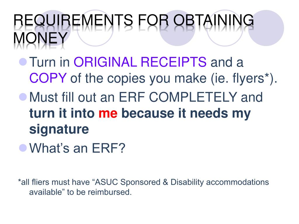 Requirements for obtaining money