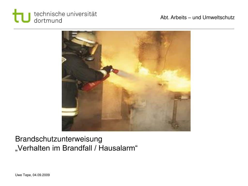 brandschutzunterweisung verhalten im brandfall hausalarm l.