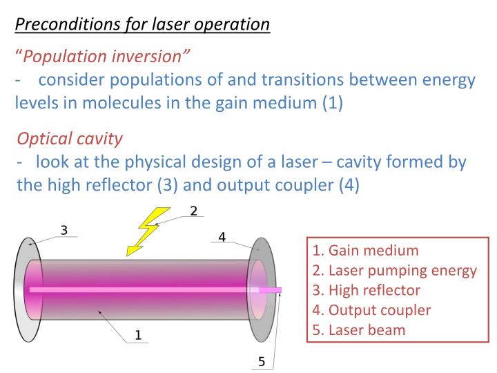 Preconditions for laser operation
