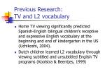 previous research tv and l2 vocabulary