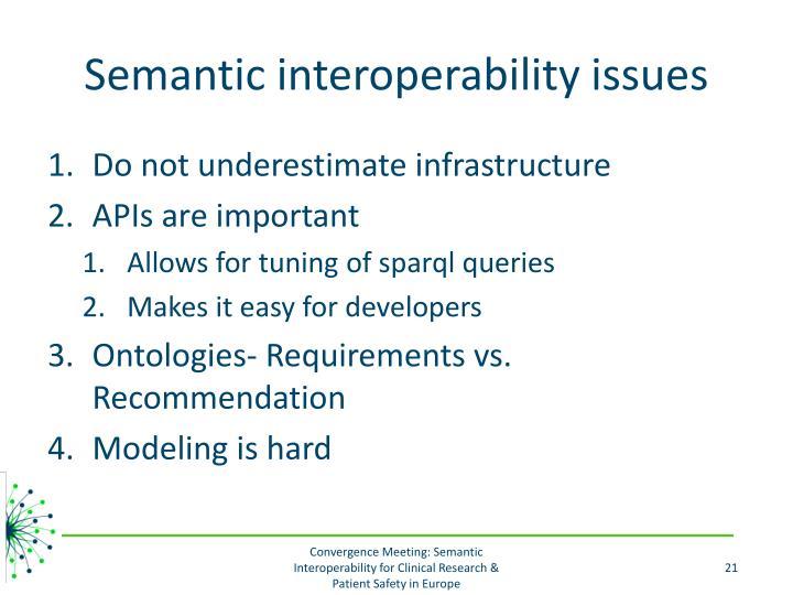 Semantic interoperability issues