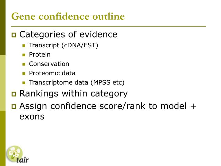 Gene confidence outline