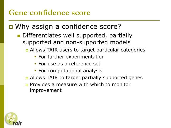 Gene confidence score