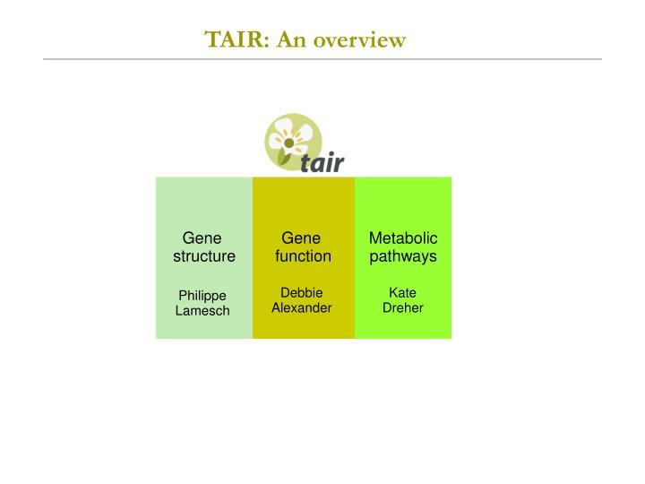 Tair an overview