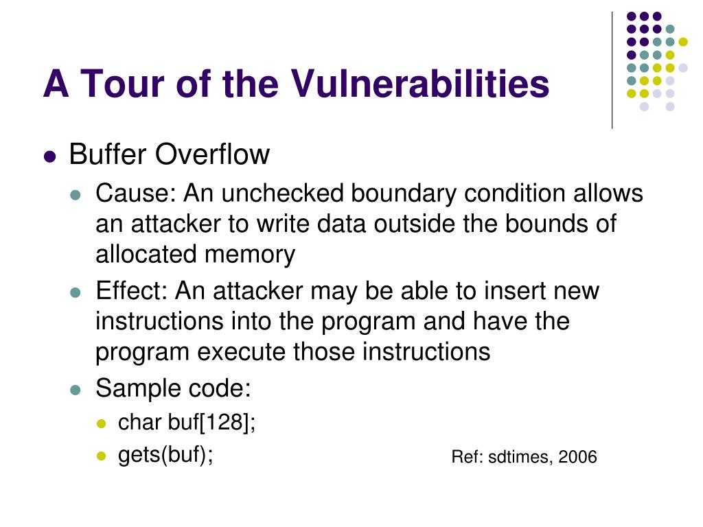 A Tour of the Vulnerabilities