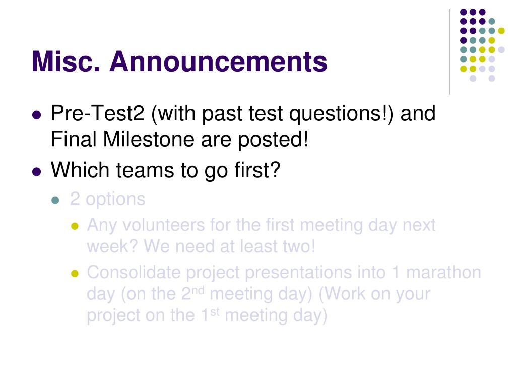 misc announcements l.