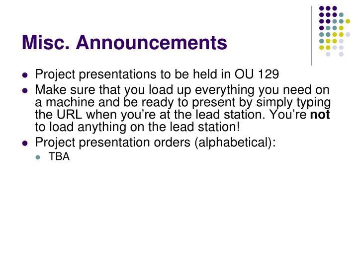 Misc announcements2