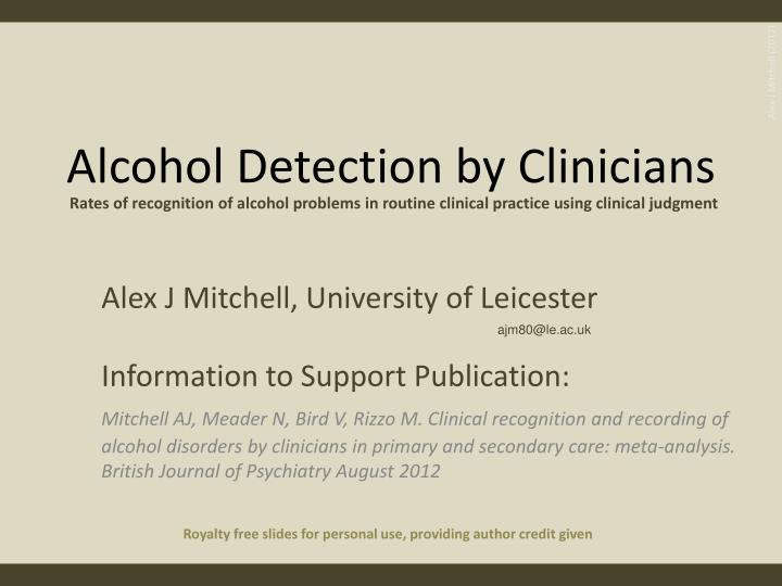 alcohol detection by clinicians n.