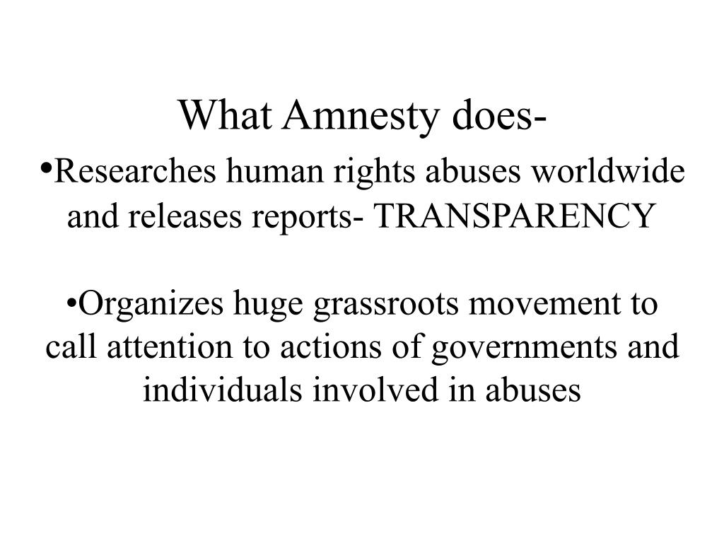 What Amnesty does-