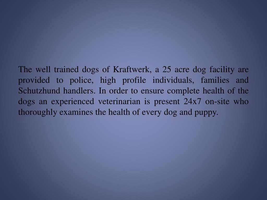 The well trained dogs of Kraftwerk, a 25 acre dog facility are provided to police, high profile individuals, families and Schutzhund handlers. In order to ensure complete health of the dogs an experienced veterinarian is present 24x7 on-site who thoroughly examines the health of every dog and puppy.