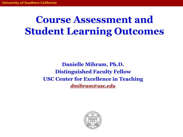 course assessment and student learning outcomes n.