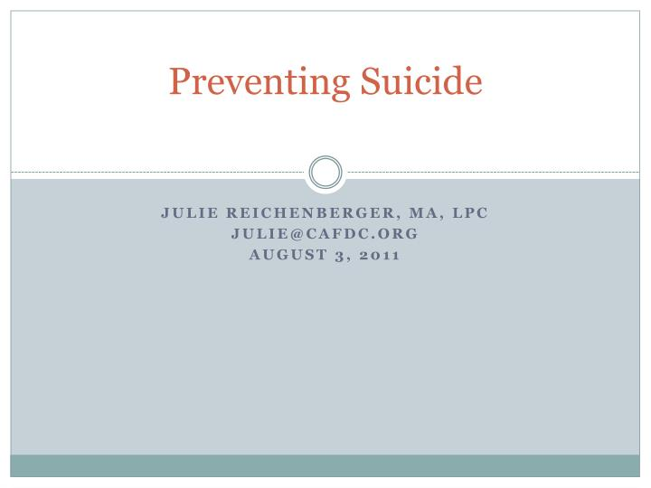 preventing suicide n.