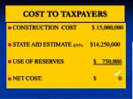 cost to taxpayers