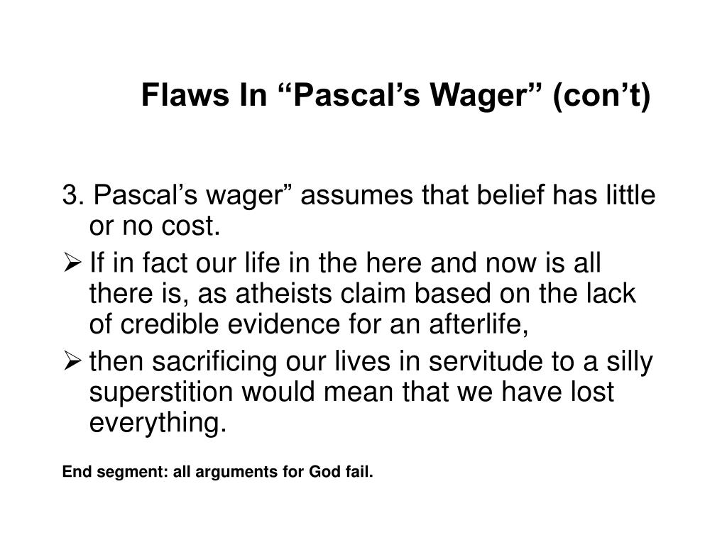 "Flaws In ""Pascal's Wager"" (con't)"