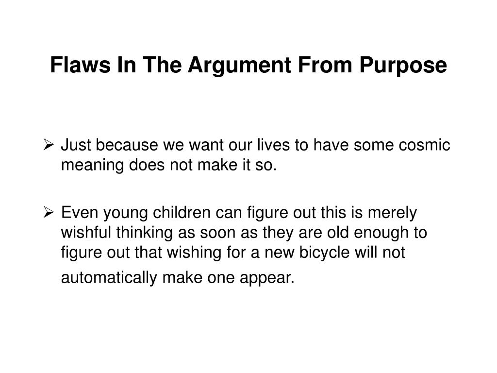 Flaws In The Argument From Purpose
