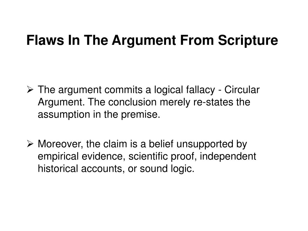 Flaws In The Argument From Scripture