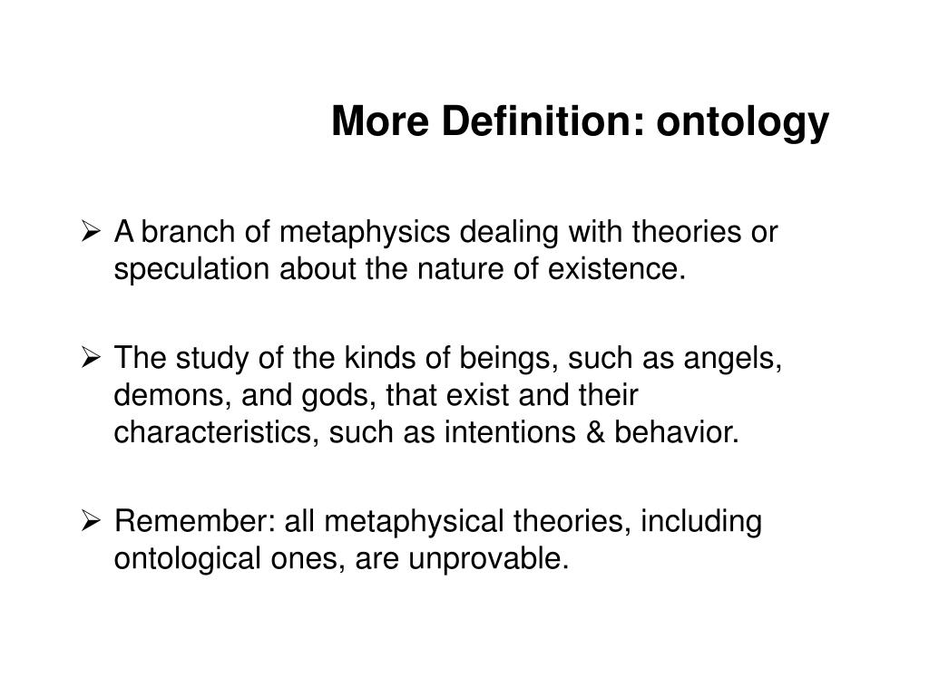 More Definition: ontology