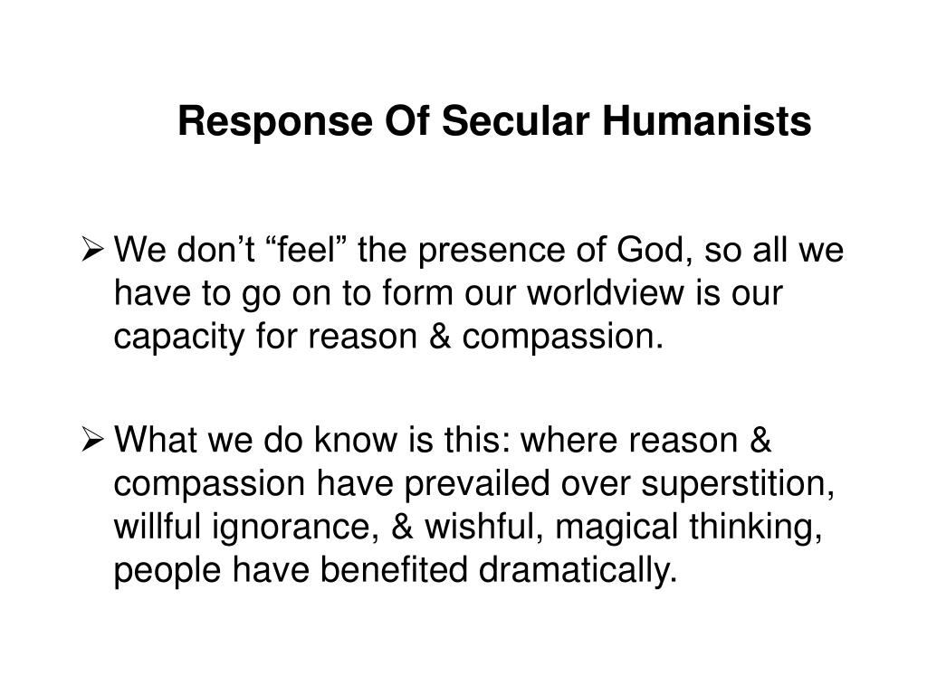 Response Of Secular Humanists