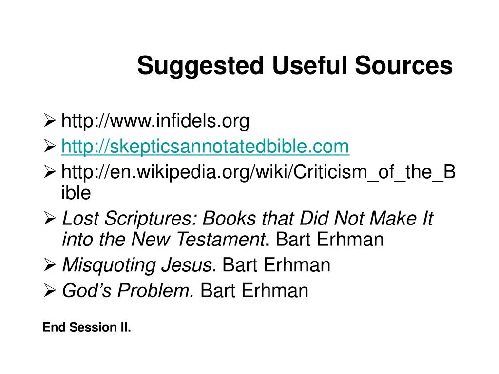 Suggested Useful Sources