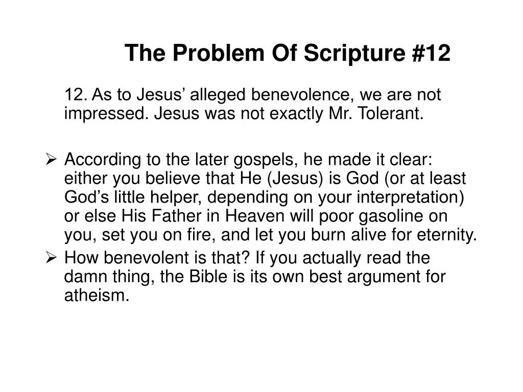 The Problem Of Scripture #12
