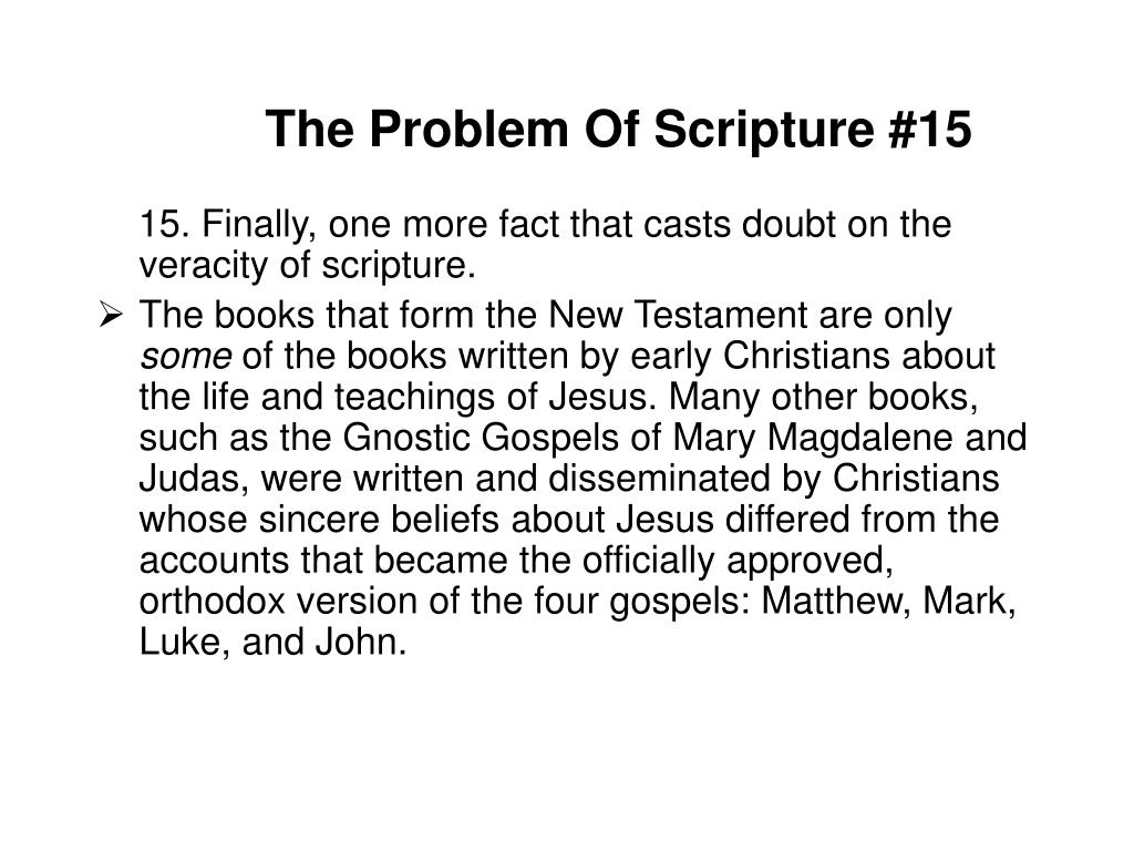 The Problem Of Scripture #15