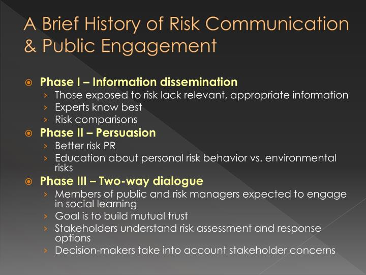 A Brief History of Risk Communication & Public Engagement