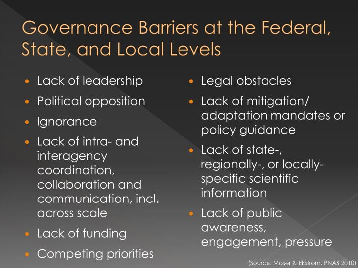 Governance Barriers at the Federal, State, and Local Levels