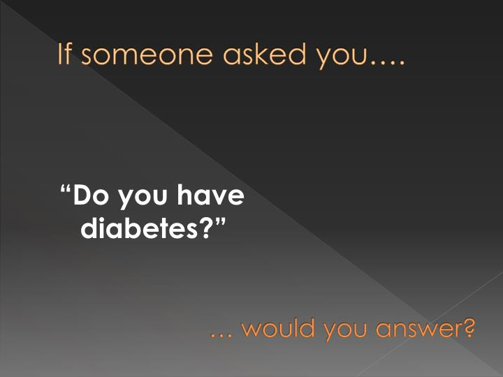 If someone asked you….