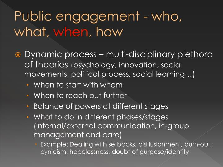 Public engagement - who, what,