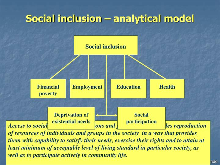 counselling social inclusion essays Whilst social workers may only sometimes take on a counselling role, the skills used in counselling can be applied to most social work activities, including indirect work often social workers have a mixture of roles in relation to the same person or persons.
