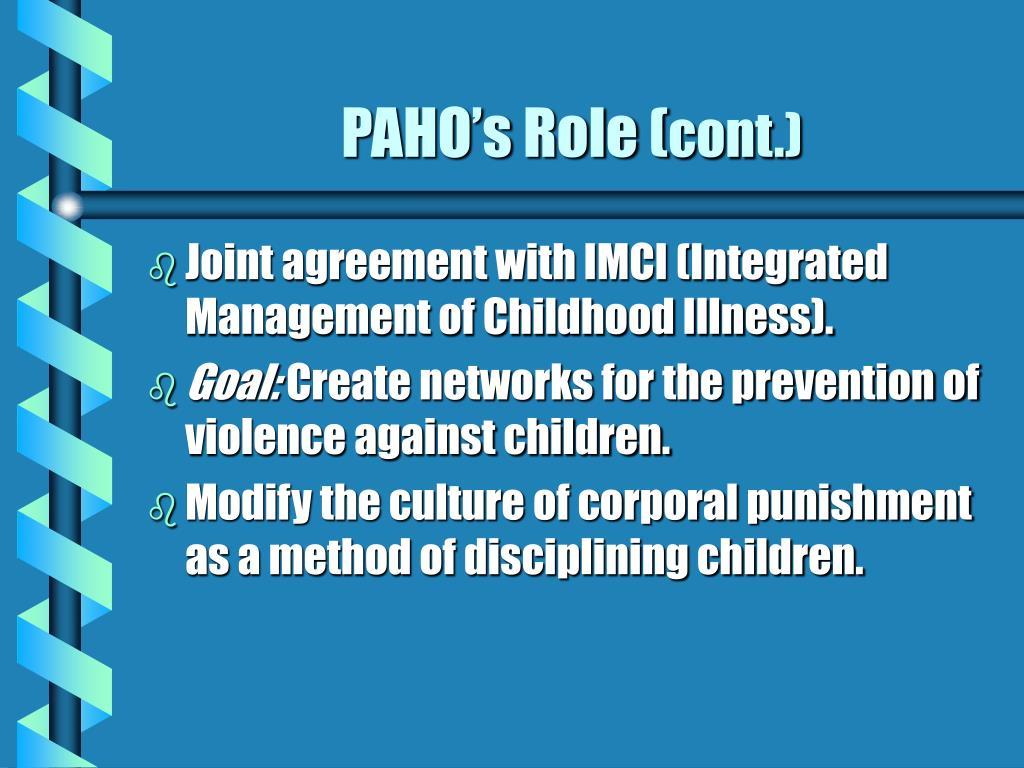 PAHO's Role (