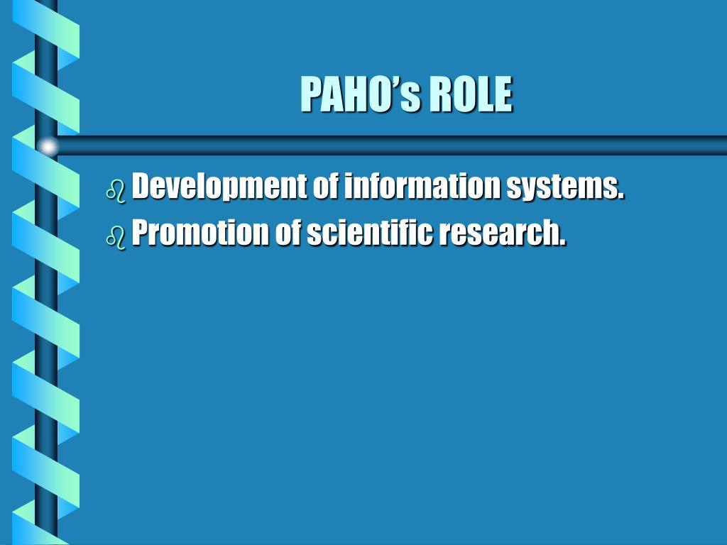 PAHO's ROLE