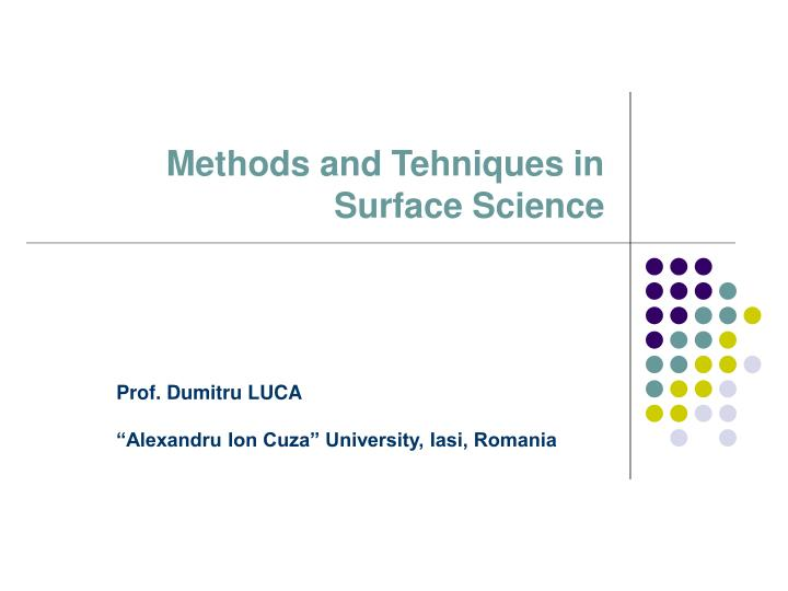 methods and t ehni ques in surface science n.