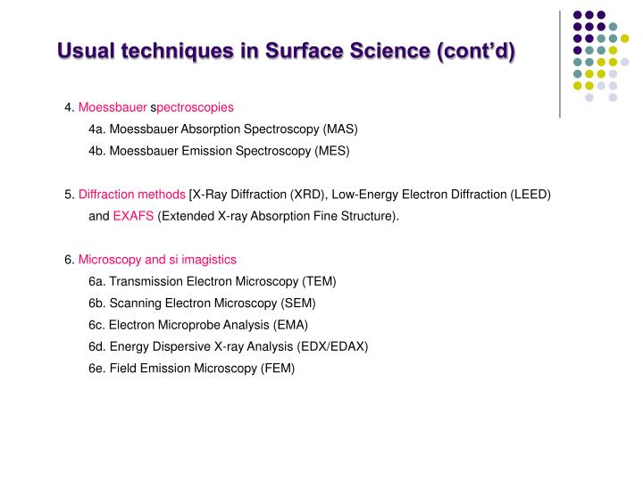 Usual techniques in Surface Science (cont'd)