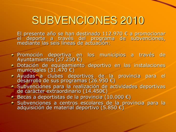 SUBVENCIONES 2010