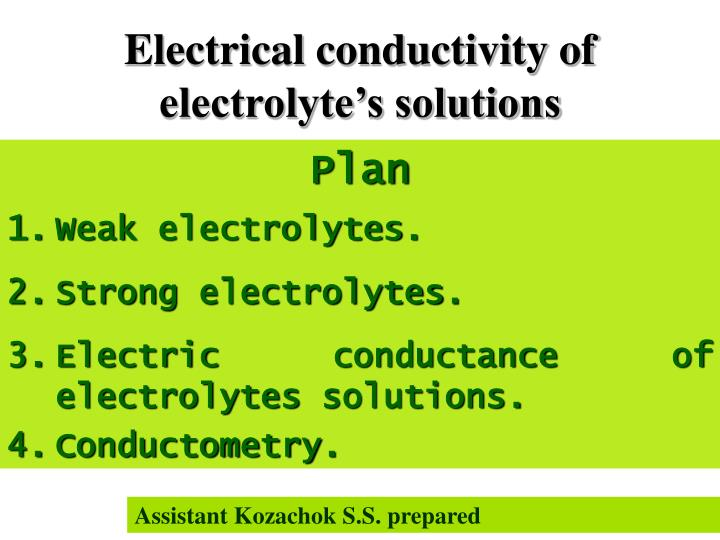 electrical conductivity of electrolyte s solutions n.