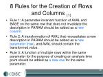 8 rules for the creation of rows and columns 1