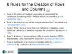 8 rules for the creation of rows and columns 2
