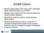 adam criteria