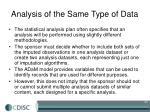 analysis of the same type of data