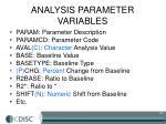 analysis parameter variables