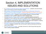 section 4 implementation issues and solutions