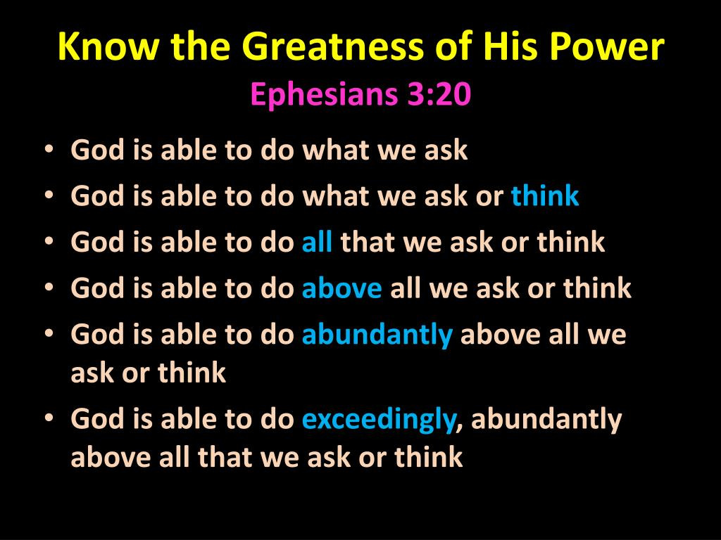 Know the Greatness of His Power