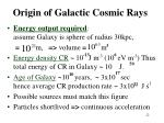 origin of galactic cosmic rays